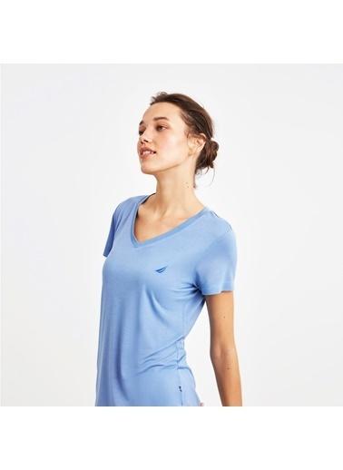 Nautica Nautica W107PJTK. Viskon Üstü V Yaka Tişört Altı Bilek Boy Desenli Kadın Pijama Takımı Mavi
